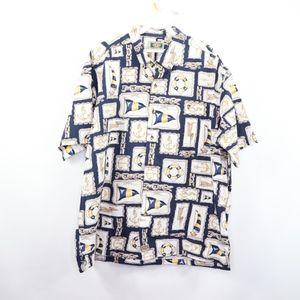 90s Streetwear Mens XL Nautical Anchor Shirt White